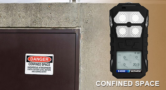 portable 4 gas detector for confined spaces